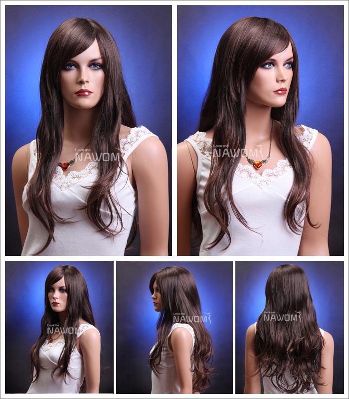 European hot sale long wavy dark brown natural looking wigs women high quality Japanese Kanekalon fiber wig(China (Mainland))