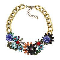 2014 New Luxury Crystal Chunky Statement Women JC Jewelry Flower Necklaces & Pendants Shourouk Choker Brand Vintage Necklace