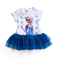 2014 Frozen Girl Elsa & Anna Princess childrens dresses 2-7ys summer baby clothing short girls party lace dress frozen