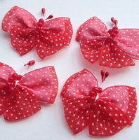 20Ps Red Color Organza Ribbon Butterflies Handmade Flowers Garment Accessories Sewing Appliques