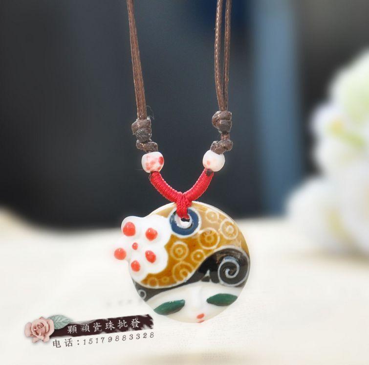 Colares bijuterias cabeça da boneca cerâmica colar artesanal de cerâmica acessórios cor esmalte face acessórios(China (Mainland))