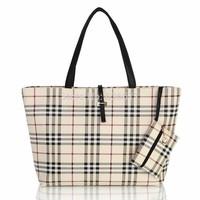 Vintage plaid women's leather handbag with small coin purse large capacity fashionable women clutch casual bag bolsas femininas