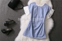 2014  fashion women autumn/summer cotton dresses o-neck strip patchwork dress sleeveless vestidos free size free shipping