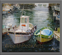 original oil painting,boats seascape painting,impasto oil on canvas,made by palette knife,framed,ready to hang,huge 36''-OR341