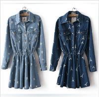 2014 Spring Summer women jeans dress retro street cross Eiffel Tower printed long sleeved high waist denim dress hot sale