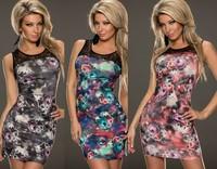 1pcs women New Style O-Neck Sleeveless Bodycon dress Flower Print dress Party dress Free shipping size xs-M