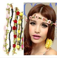 2014 New  wonmen Girls Bride Bohemian Flower Headband Braid Wedding Beach Tiara Crown Hair Band Free Shipping