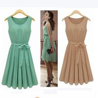 New 2014  Fashion Women dress Lady Elegant Vest summer dress O-Neck Sleeveless Bow Knee-Length Pleated Chiffon Dress
