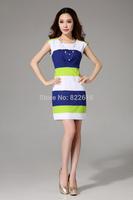 2014 Summer Striped Printed dress Woman Chiffon Sleeveless O-neck Dresses Natural Casual Slim Women's Clothing DRESS-251841