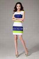 New 2014 Women's Print Slim Chiffon Dress European and American Fashion Long Knee-length Dresses Woman Clothing DRESS-2518412