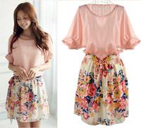 Summer Chiffon Dress New 2014 Women's Fashion Korean Bat Sleeve Short Sleeve Floral Printed Chiffon Dress Wholesale
