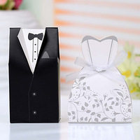 High Quality Free Shipping Wedding Favor Bride Groom Gift Tuxedo and Gown Candy Box with Ribbon