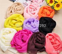 FREE SHIPPING SS0031 fashion NEW all match pure color thin lace Bohemia foulard echarpe chiffon silk scarfs famous brand designs