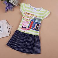 5Pcs/lot! Children clothes baby girls peppa pig cotton short-sleeved girl dress striped Polka Dot child kids cartoon dresses
