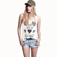 2014 New Fashion Lady Women's Sleeveless DON'T GIVE UP girl personality plus size TANKS Summer Casual CAMIS
