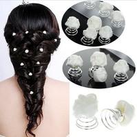 Wholesale 12PCS Wedding Bridal White Silk Rose Flower Hair Pin Swirl Bridesmaid
