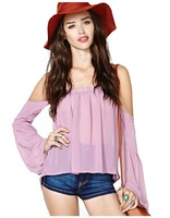 2014 New Fashion Lady Women's sexy long sleeve backless strapless top loose chiffon Summer plus size Casual Blouse