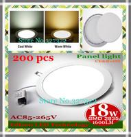 FedEX Free shipping 200 pcs Round LED Panel Light 18W AC 85-265V 1600LM  SMD 2835 bulb lamp led ceiling light warm cool white
