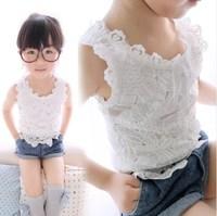Children's clothing 2014 summer female child lace decoration child female child spaghetti strap vest