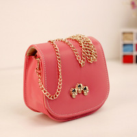 2014 Candy  solid color small sachet chain skull mini mobile phone  bags female messenger bag