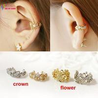 2014 new fashion sweet gold silver metal hollow flower crown crystal no pierced clip earrings ear cuff for women brincos bijoux