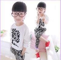 2014 spring female child set female child long-sleeve T-shirt pants harem pants set casual twinset