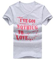 free shipping man letter picture v-neck t-shirt , short sleeve men's new version brand t shirt 23