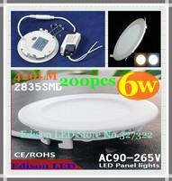 FedEX Free shipping 200 pcs round LED Panel Light 6W AC 85-265V 120mm 420Lm SMD 2835 lamp bulb led ceiling light warm/cool white