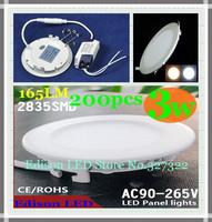FedEX Free shipping 200 pcs round LED Panel Light 3W AC85-265V 85mm 165l Lm SMD 2835 lamp bulb led ceiling light warm/cool white