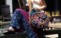 New Design Hilltribe Embroidery Messager Bag Round Shape Pompon Girls Bag Handbag/Totes GUDUO