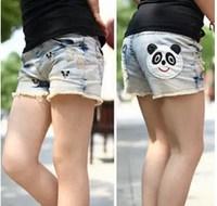 Children's clothing 2014 summer embroidery wearing white retro denim finishing hole female child denim shorts child shorts