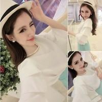 Free Shipping 2014 Spring And Summer New Korean Version Women Shirt Elegant Chiffon Shirt