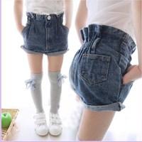2014 summer girls clothing children's pants roll up hem child denim shorts