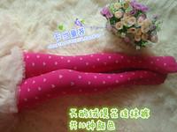 Child 2014 polka dot velvet pantyhose dance socks female child legging socks