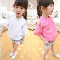 Children's clothing female child 2014 summer pearl diamond shoulder strap doll strapless short-sleeve T-shirt child clothing