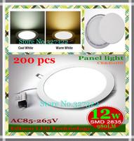 FedEX Free shipping 200 pcs Round LED Panel Light 12W AC 85-265V 980LM SMD 2835 lamp bulb led ceiling light warm cool white