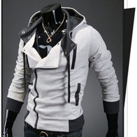 Lastest Hot sale male fleeces fashion hooded men's justaucorps long sleeve patchwork light grey Zipper hoodies drop shipping
