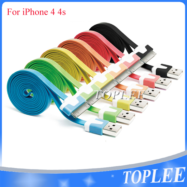 Free Shipping 10pcs/lot Flat 1M USB to 30 Pin Data Sync Charging Cable Cord for iPhone 4 4S iPad 1 2 3(China (Mainland))