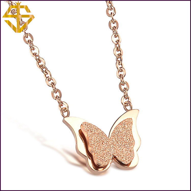 New 2014 Flower Butterfly Necklace 18K Rose Gold Plated Fashion Jewellery Free Pendant Austria Crystal Wholesale(China (Mainland))