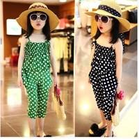 2014 children's summer clothing female child small dot spaghetti strap tube top harem pants child twinset