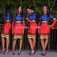 2014 New Arrival Women Colorful Bandage Dresses Celebrity Long Sleeve Bodycon Evening Dress Plus Size Women Vestido Dresses