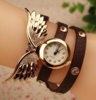 2015 Newest Fashion Women Wing Bracelet  Full Crystal Rhinestone Watches Women Dress Quartz Wristwatch Dropshipping Girl Gift