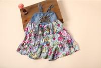 hot sale 6pcs/lot  2014 summer new girls denim vest dress floral stitching straps girls princess dress