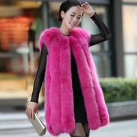 Hot Selling! Women Winter Natural Fox Fur Vest  Genuine Fur Gilets Waistcoats Luxury Short Style Warm Fur Coats Jacket Plus Size