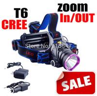 CREE T6 zoom lamp Headlamp Headlight CREE XM-L XML T6 LED Headlamp Headlight 1600 Lm Zoomable Zoom IN/OUT+Changer