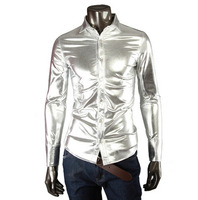 Lastest 2014 new arrival fashion male T-Shirt men's long sleeve slim blouse solid turn-down collar shirt silver drop shipping