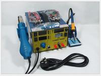 Free shipping  909D Upgrade saike 909D+ 3 in 1 Hot air gun rework station Soldering station dc power supply 220V or 110V 700W
