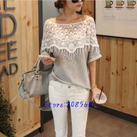 Women Cute Lace Crochet Batwing Sleeve T shirt Hand Cloak Neck T-shirt Tees Hollow 0081
