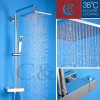 "With Termostatic Shower Faucet Valve 10"" Air Drop Rainfall Shower Head Rainfall Bathroom Shower Set"