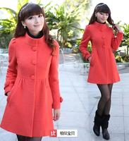 2014 New Fashion  Winter Fashion Korean Women Slim Thin Woolen Coat Girls Long Woolen Coat WBZ0026